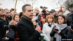 Gabor Vona spoke in Hyde Park after a planned event was cancelled