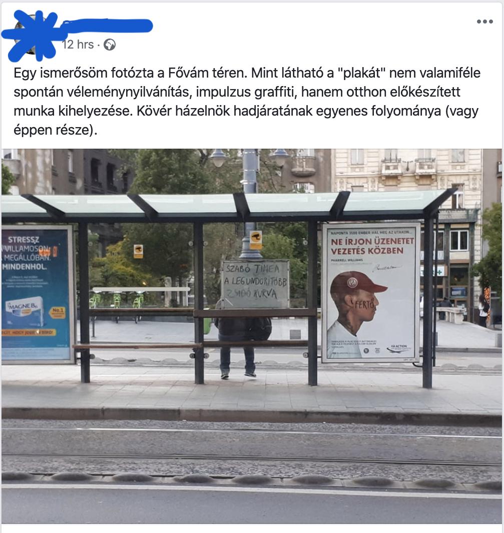 Gyalázkodó antiszemita felirat a Fővám téren